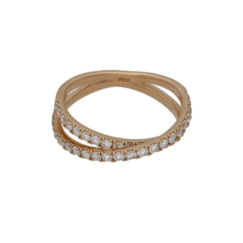 Two row rose gold diamond 18k crossover ring
