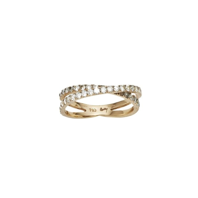 18ct rose gold diamond crossover ring