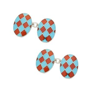 Sterling silver and enamel harlequin orange and blue cufflinks