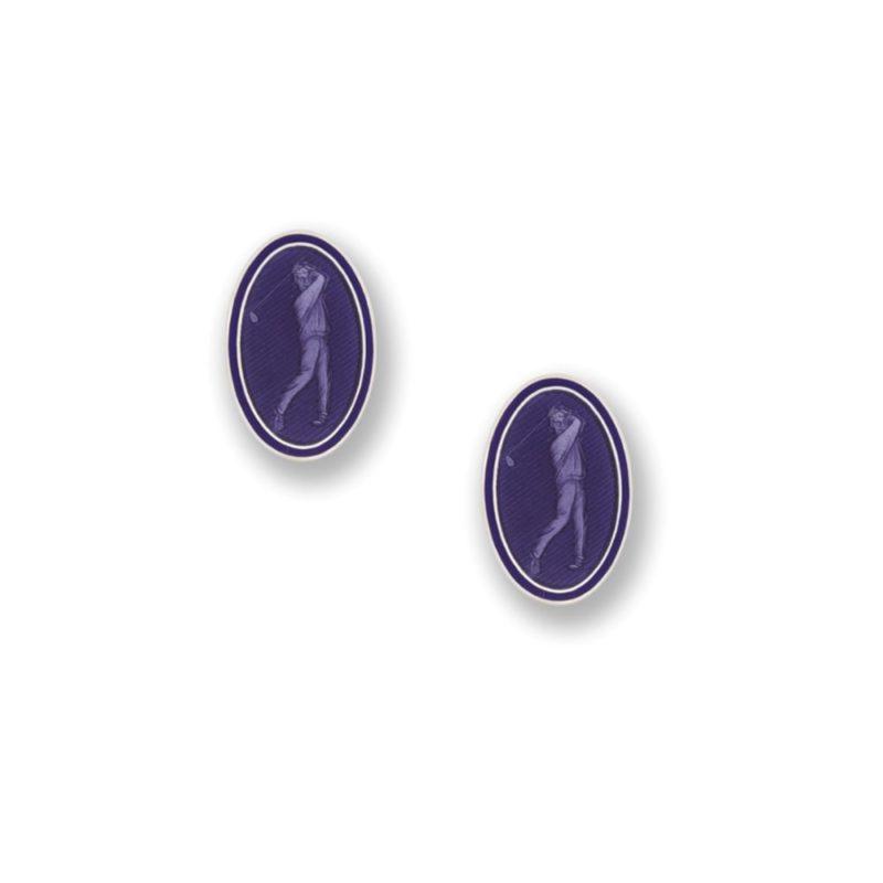 Sterling silver and enamel purple golf chain links cufflinks
