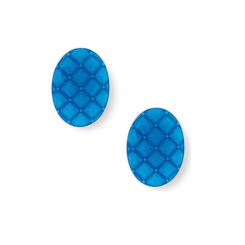 Men's vibrant blue enamel cushion cufflinks in sterling silver