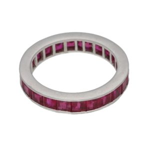 Platinum channel set ruby ring