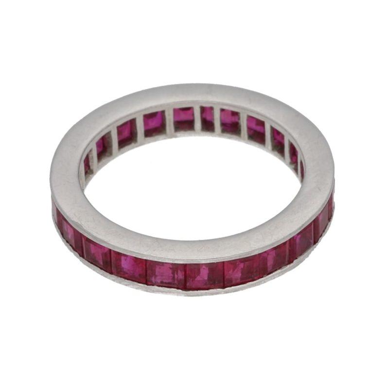 Platinum channel set ruby ring