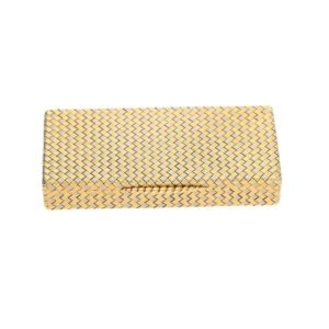 Vintage Woven Snuff Box in Yellow and White Gold