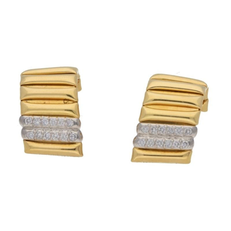 Yellow gold and diamond set clip earrings