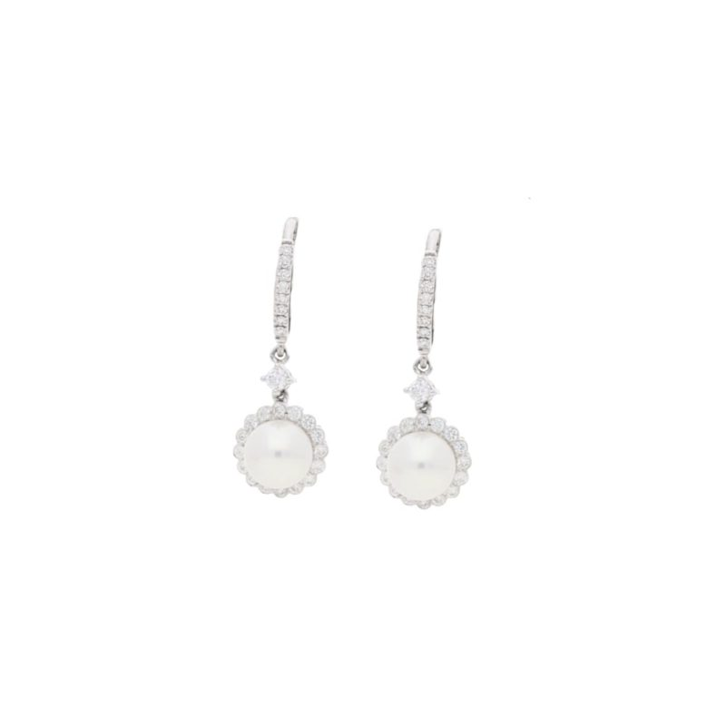 Pearl and diamond cluster drop earrings