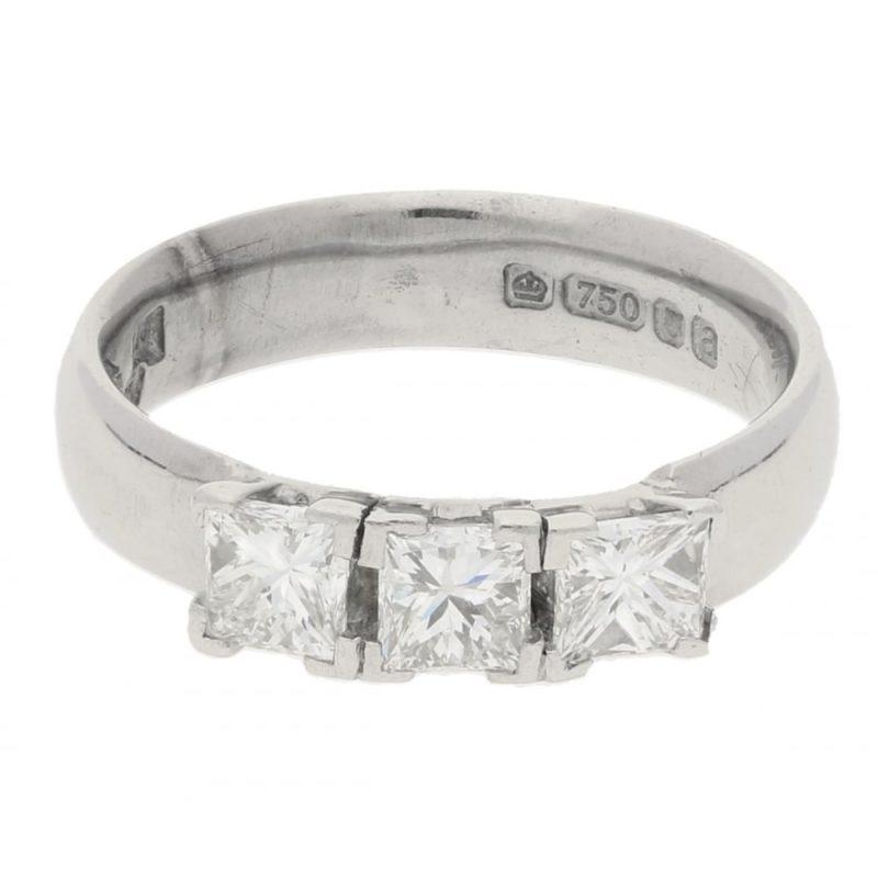 Princess cut diamond three stone engagement ring