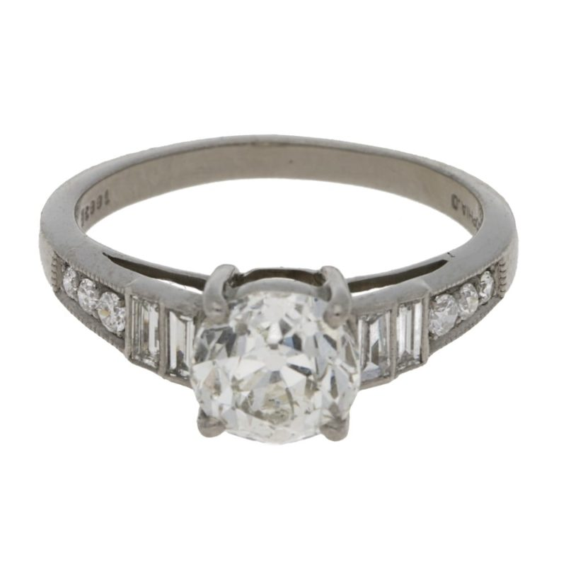 1.4ct old cut diamond solitaire engagement ring