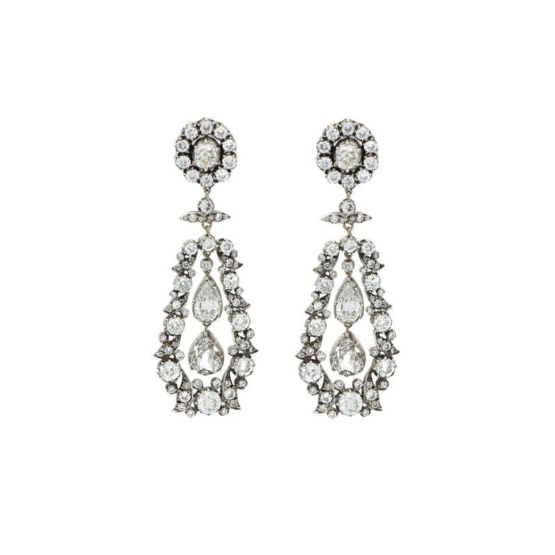 Victorian Old Cut Diamond Drop Cluster Earrings