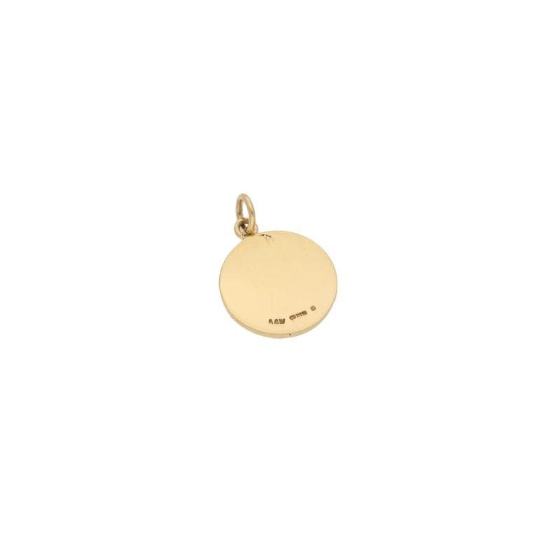 9ct gold round disc pendant