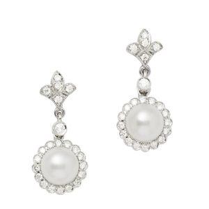 18ct gold pearl diamond drop earrings