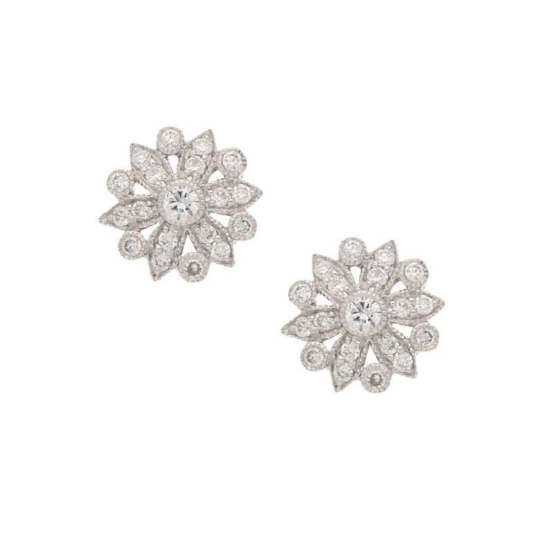 Diamond floral design studs in 18k gold
