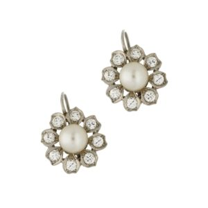 Pearl diamond cluster drop earrings