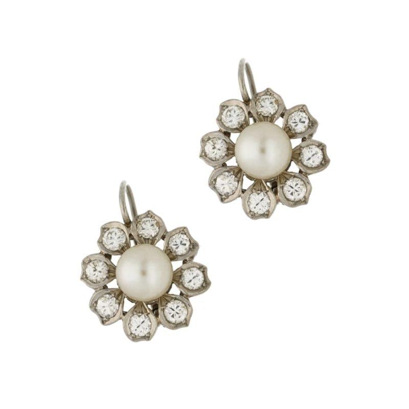 Pearl diamond cluster drop earrings