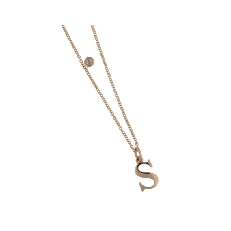 18ct rose gold letter S necklace with diamond detail
