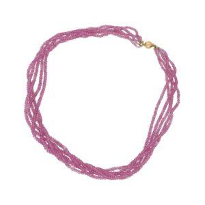 Pink sapphire briolette bead torsade necklace
