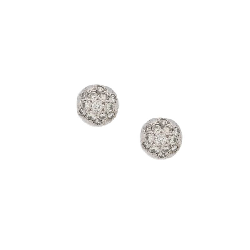 Vintage 14k white gold diamond set studs