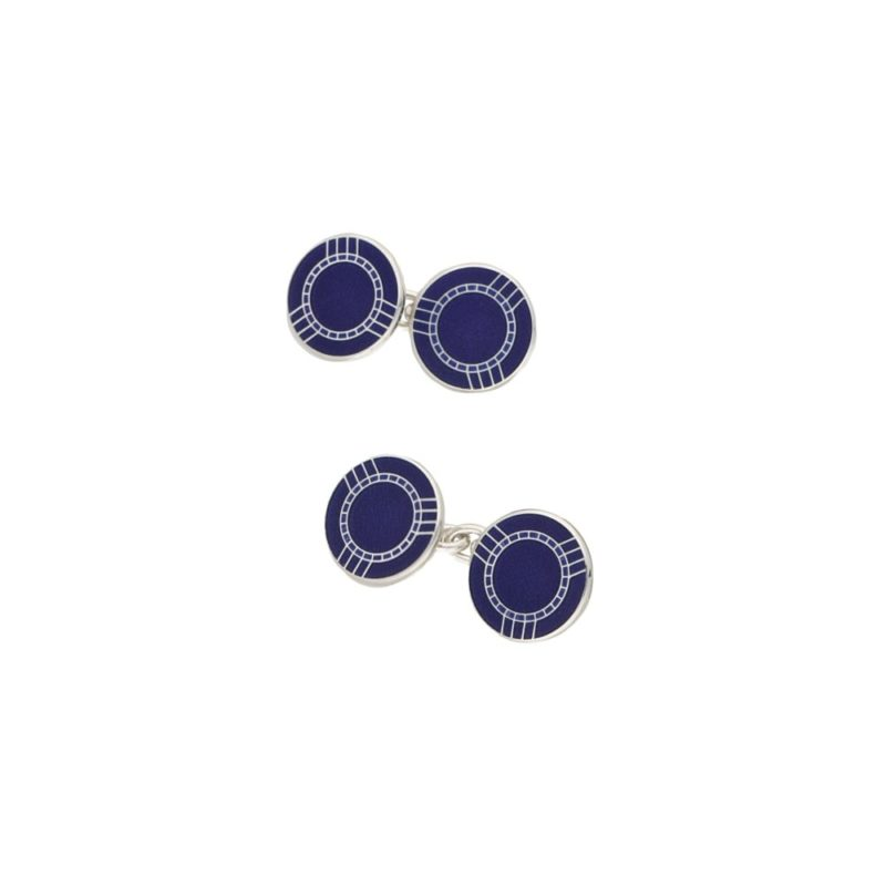 Dark blue enamel silver cufflinks