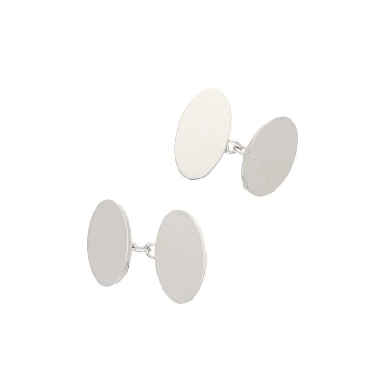 Plain elongated oval silver cufflinks