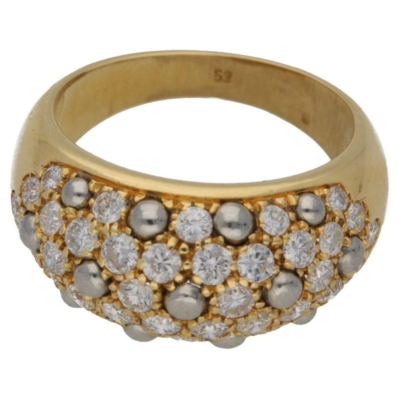 Diamond set gold bombe ring