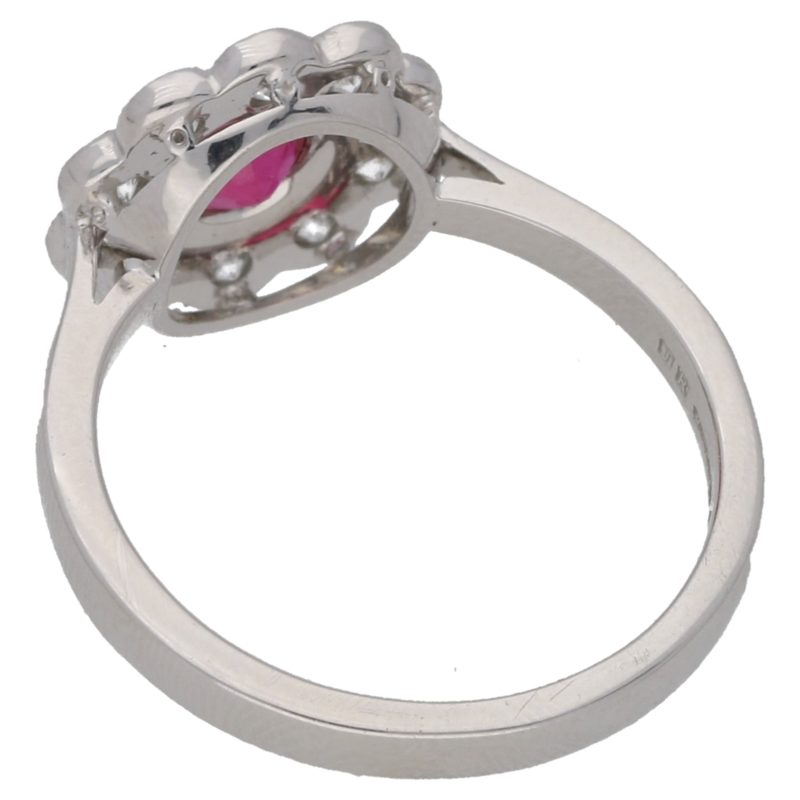 18ct white gold ruby and diamond daisy cluster ring