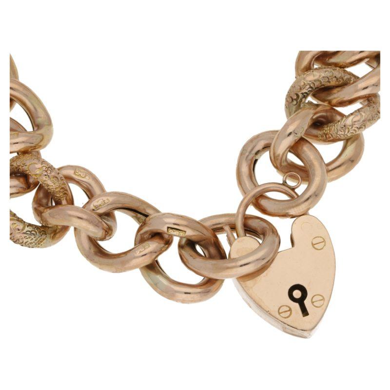 Vintage 9ct gold classic charm bracelet