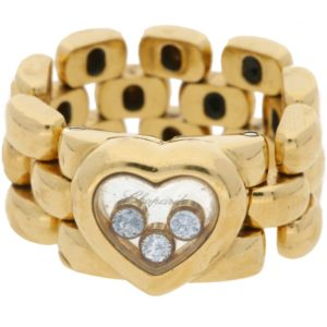 Chopard 18ct yellow gold happy diamond heart link ring