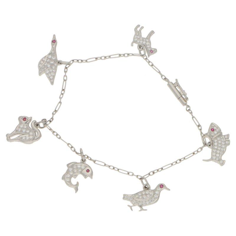 Platinum diamond animal charm bracelet