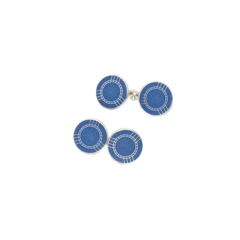 Men's navy blue enamel sterling silver xhain link cufflinks