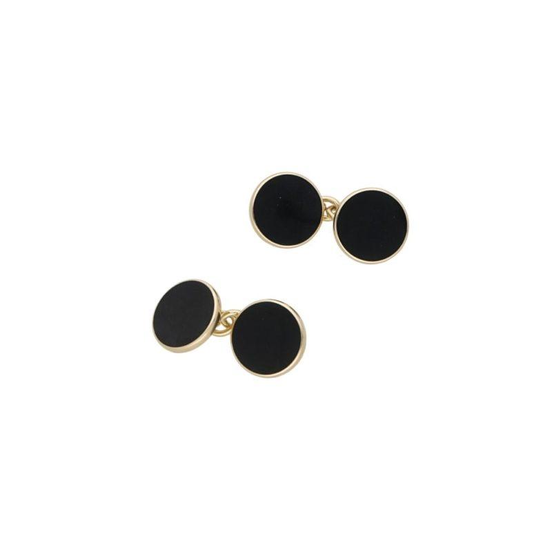 9k gold round black enamel cufflinks