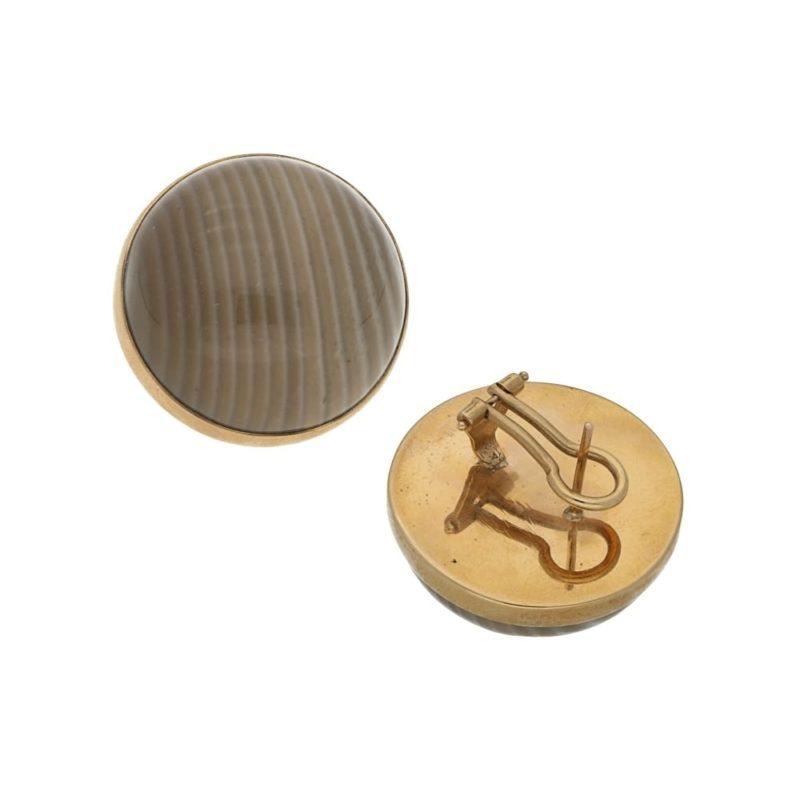 Large Polished Flint Stud Earring in 9k gold