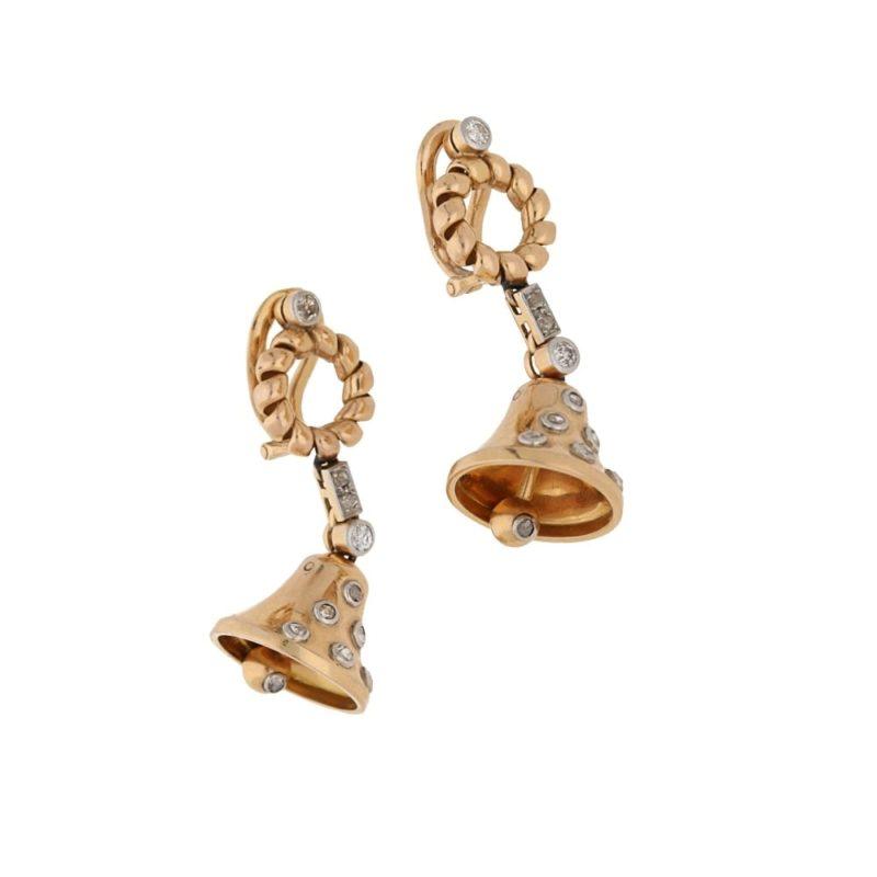 Diamond set bell design earrings in gold