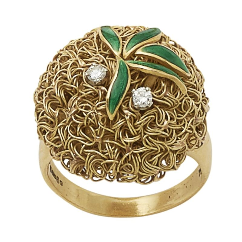 18ct gold wire work ring set with enamel and diamonds