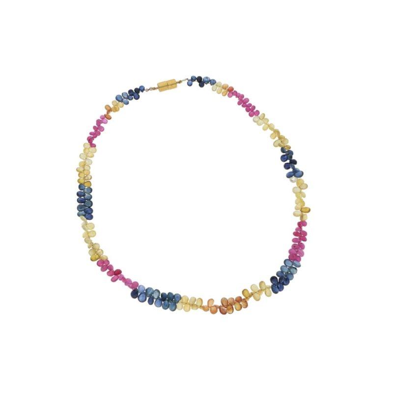 A graduated single strand briolette cut multi-gem necklace