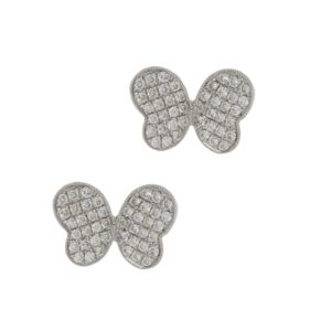 18ct white gold diamond set butterfly stud earrings