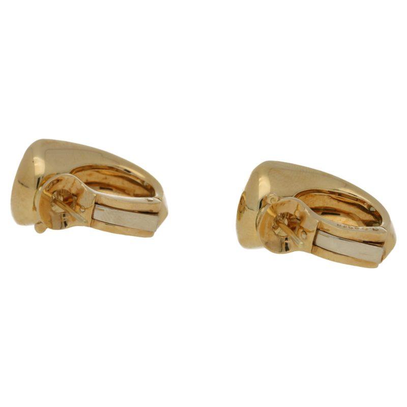 A pair of 18ct yellow gold Marina B aquamarine hoop earrings