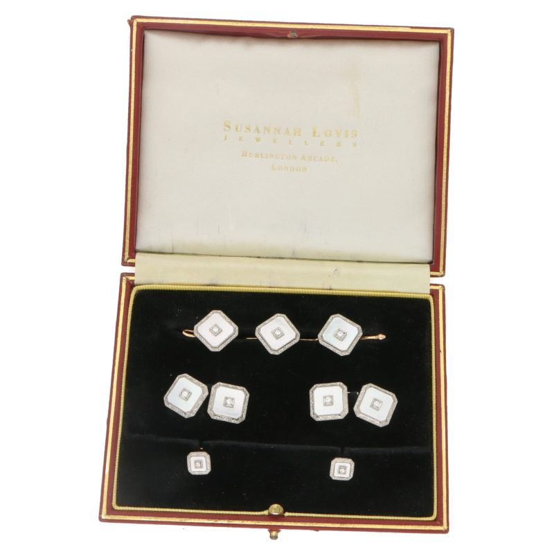 1930's mother of pearl signed Krementz dress set