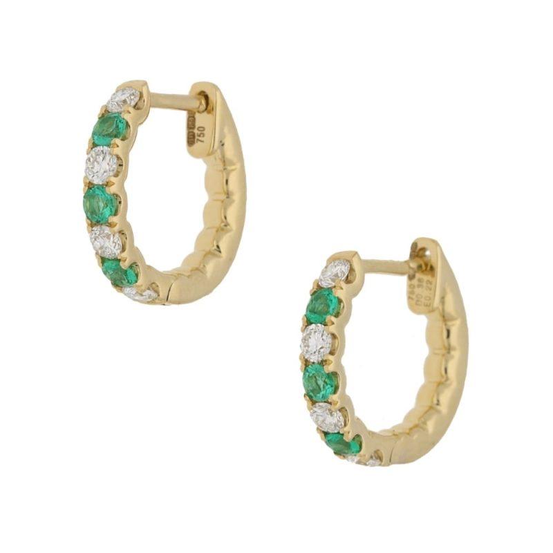 18ct emerald diamond hoop earrings