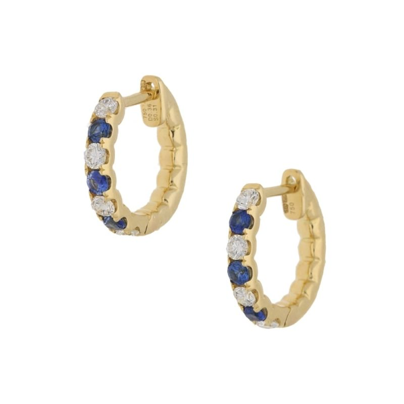 18ct gold sapphire diamond hoop earrings