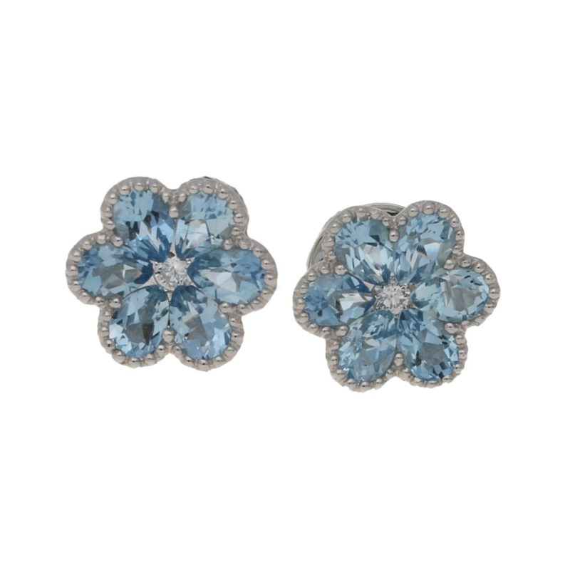 18ct gold aquamarine diamond floral stud earrings