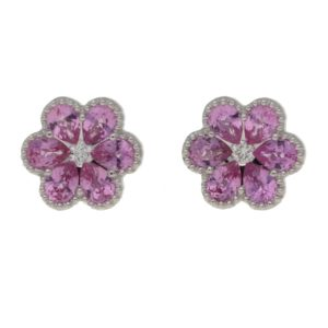 18ct gold pink sapphire floral studs