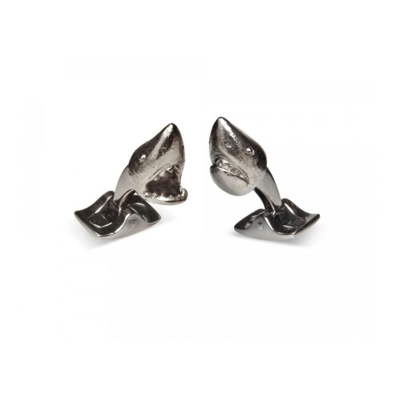 Men's dark rhodium shark cufflinks swivel back fitting