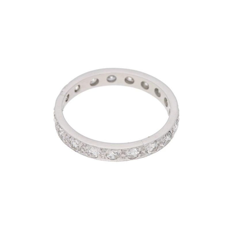 Diamond grain set platinum eternity ring