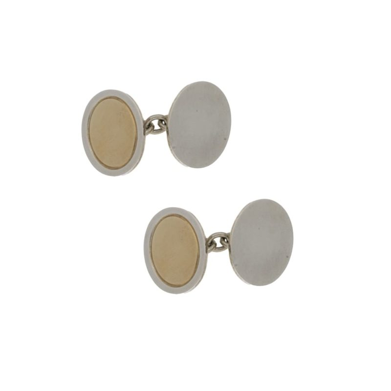 Sterling silver and 9k gold chain link cufflinks