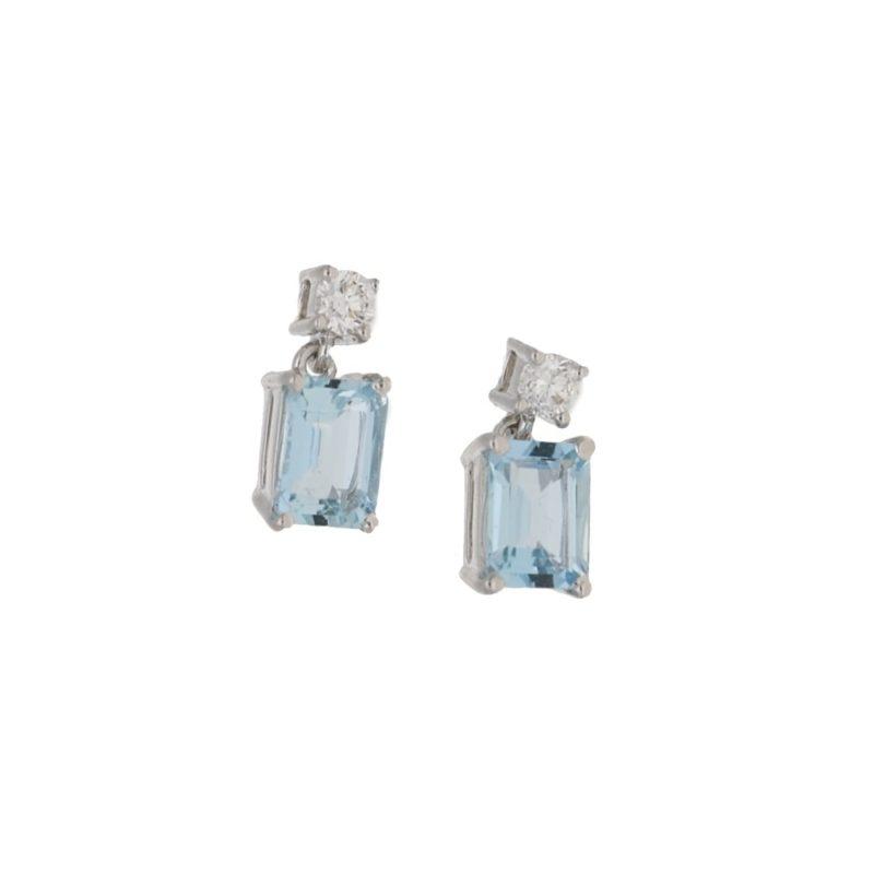 18ct gold aquamarine diamond drop earrings