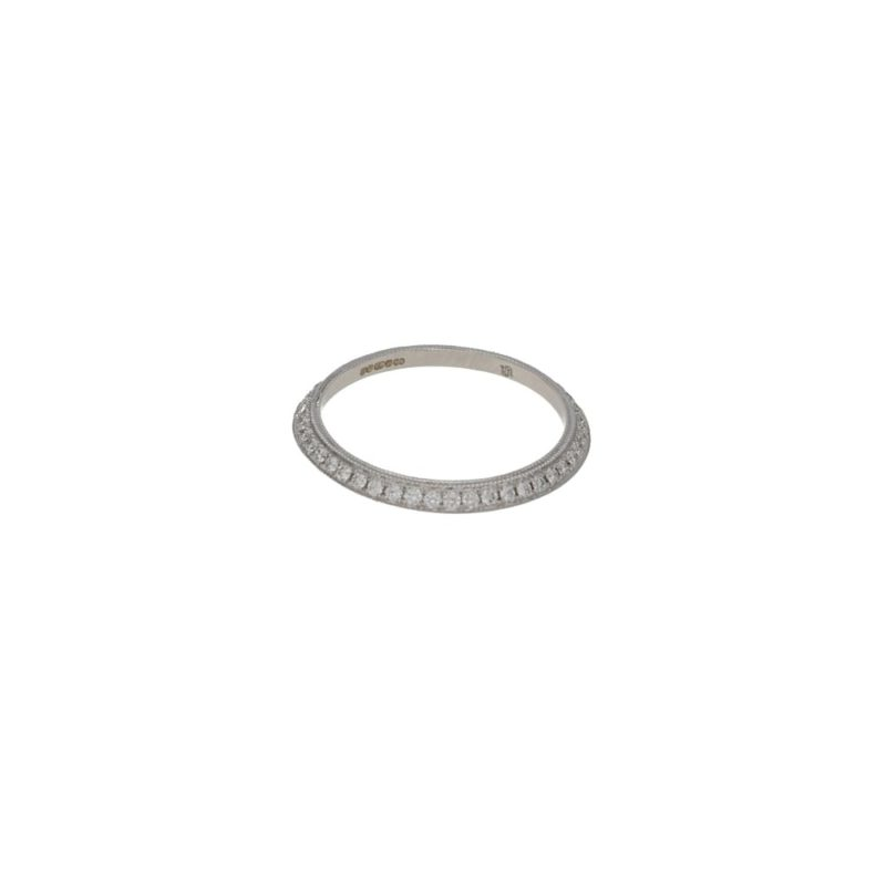 18ct white gold and diamond bevel stacking ring