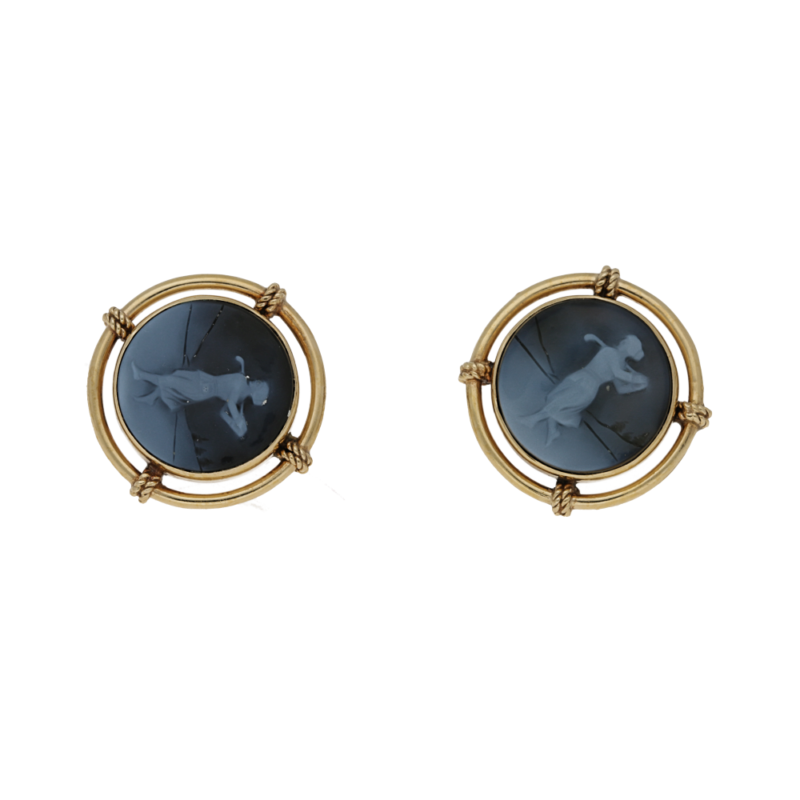 Victorian Onyx Cameo 'Lady Playing Golf' Earrings in Yellow Gold