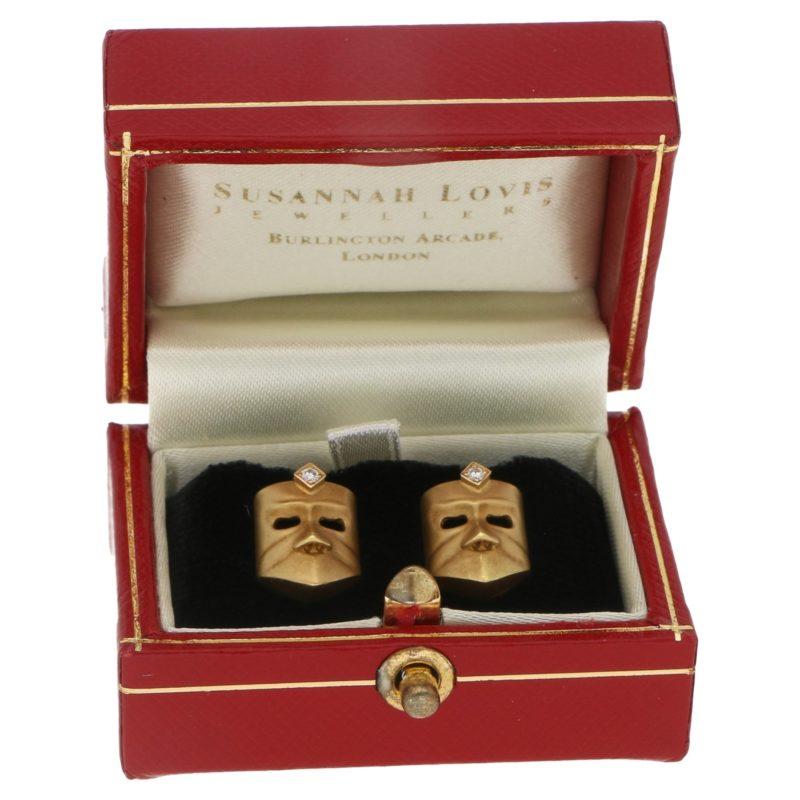 Diamond Masque Stud Earrings in 18 Carat Gold