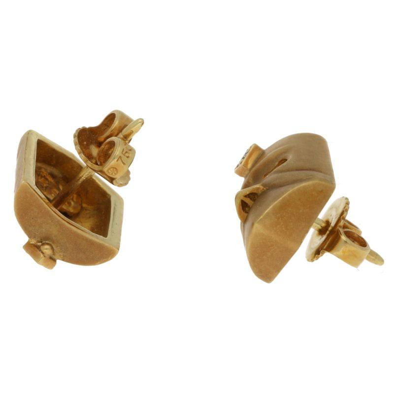 Faustian diamond set 18ct yellow gold mask earrings