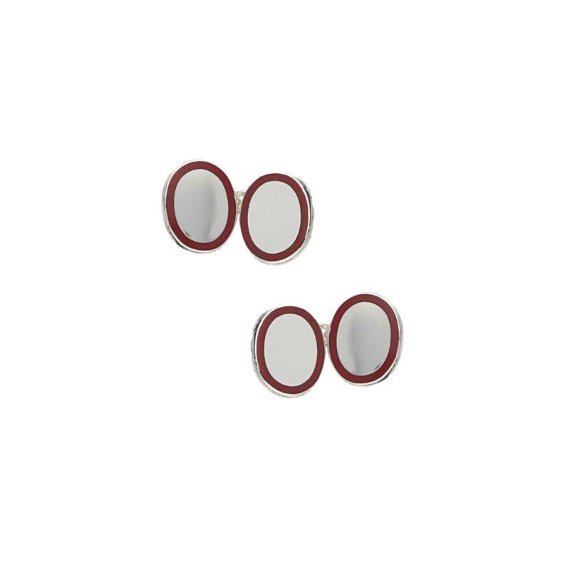 Men's sterling silver and cerise border enamel chain cufflinks